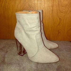 grey clear heel booties